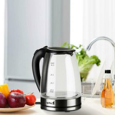 Zokop 1.8L Electric Kettle Glass Tea Kettle Auto Shut-off Fa