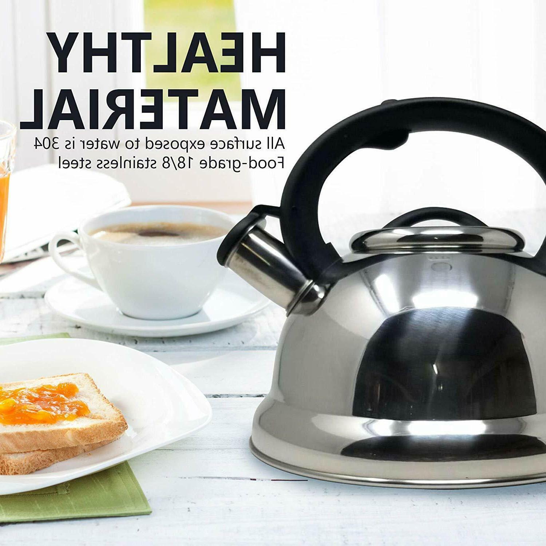 2 95 quart stainless steel whistling tea