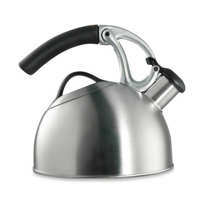 2 qt brushed stainless steel tea kettle