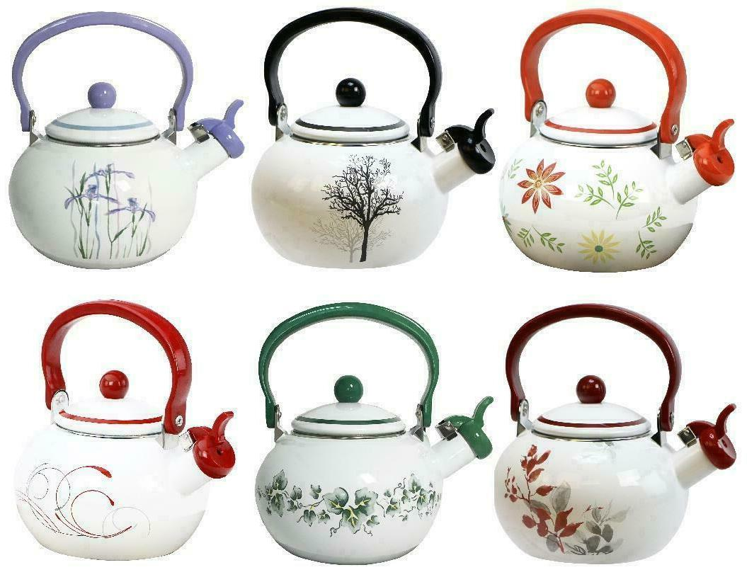 2 qt whistling tea kettle steel stovetop