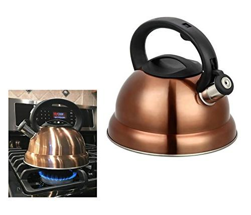 3 Quart Kettle Steel Tea for with Cool Grip Handle Brush Copper Finish