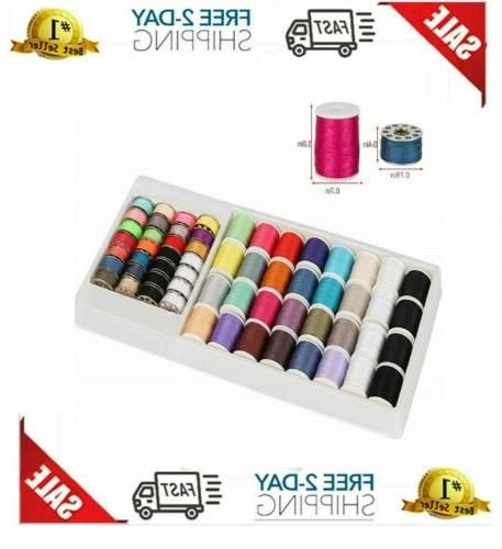 60pcs Sewing Thread Kit Singer Brother Spools Metal Bobbins