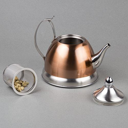 Creative Home 77075 1.0 Qt. Stainless Copper Tea Kettle with Removable Basket