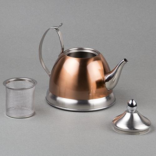 Creative Home 77075 Qt. Nobili Copper Tea Removable Infuser