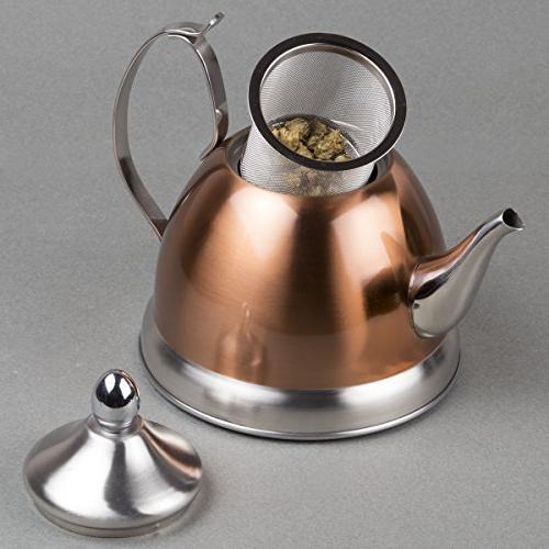 Creative Home 1.0 Qt. Nobili Steel, Copper Tea with