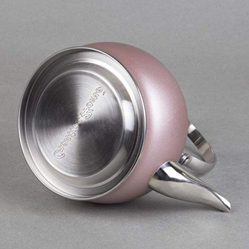 Creative Stainless Steel Tea with with Removable Basket, Handle Quart Rose