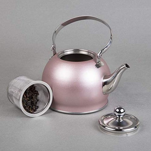 Creative Stainless Steel Tea Kettle with Basket, Quart Rose Gold
