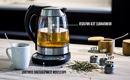 Chefman Glass Tea Kettle Infuser, Built-in Control Keep Warm Function, 1.7L