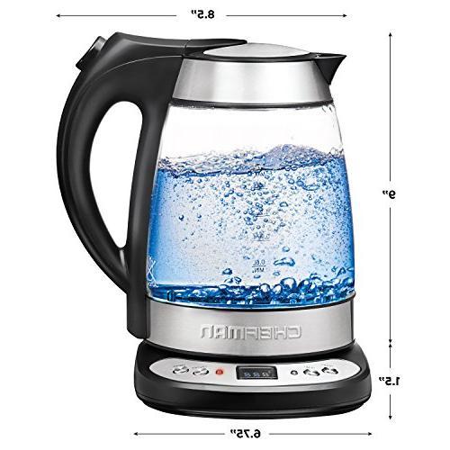 Chefman Electric Tea Kettle Infuser, Built-in Control Function, 1.7L
