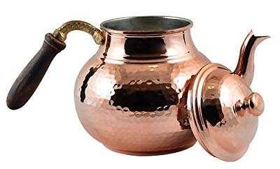 CopperBull Hammered Thickest Copper Tea Pot Kettle Stovetop
