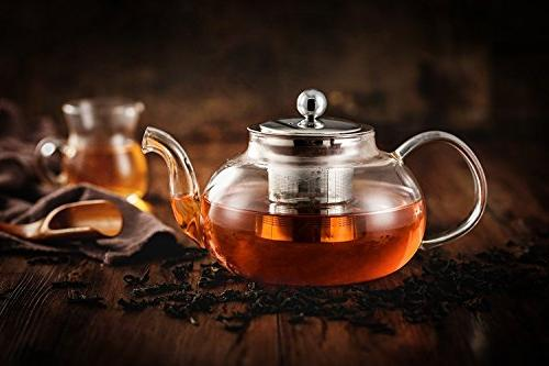Hiware Glass with & Tea Kettle Safe, Blooming Leaf Teapots, 27 / 800 ml