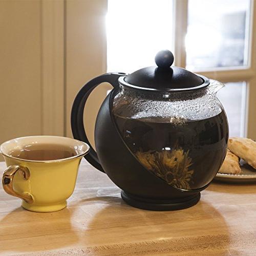Flowering Tea Wide Glass oz. – Glass Black Accents 3 Flowering Dishwasher Safe