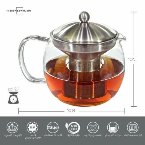 Teapot Kettle with Warmer - Tea Pot and Tea Infuser Set - Gl