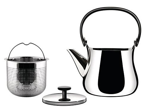 "Alessi ""Cha"" Kettle/Teapot 18/10 Stainless Steel Polished Handle in Thermoplastic Steel induction Silver"