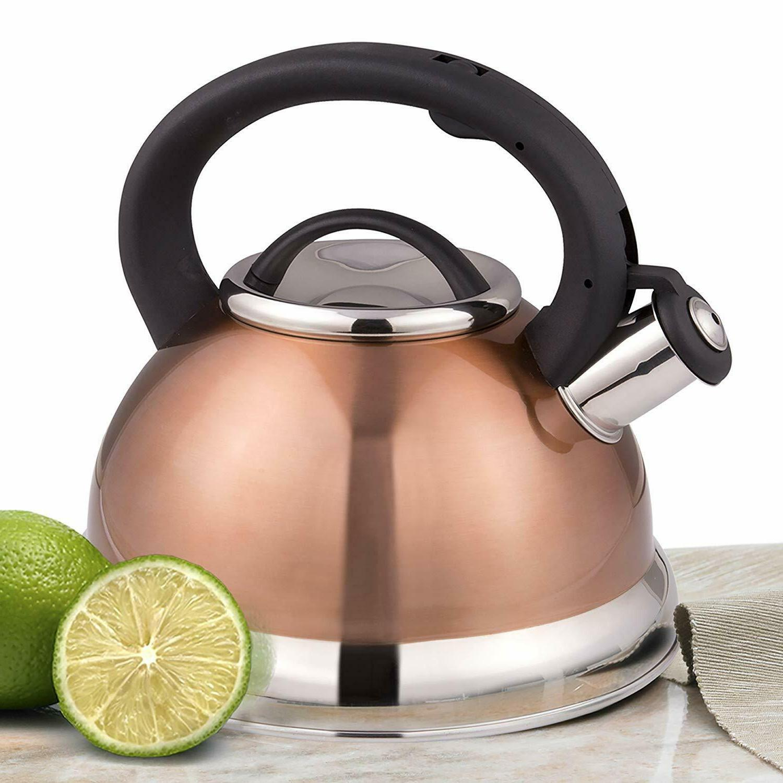 alexa 3 quart whistling tea kettle metallic