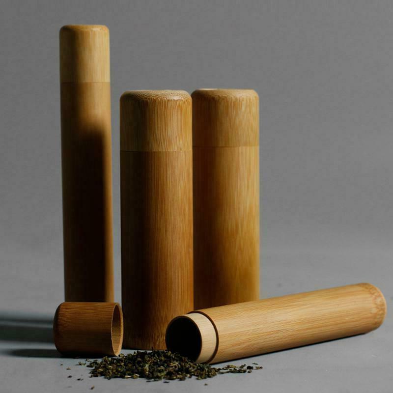 Bamboo Tea kettle Canister Spice Storage Box Organizer Tea L