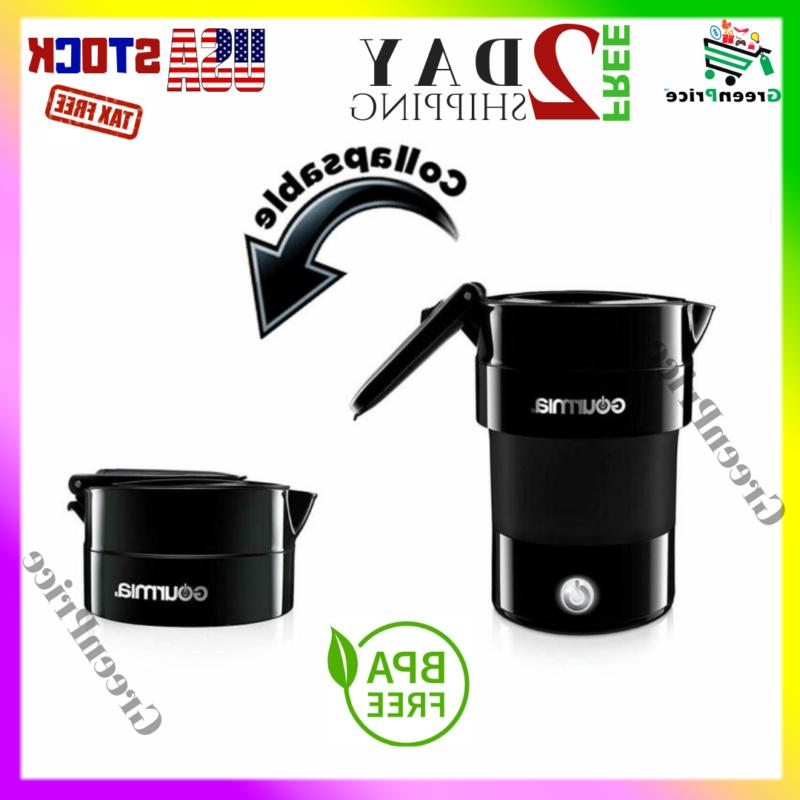 black travel foldable electric kettle mini small