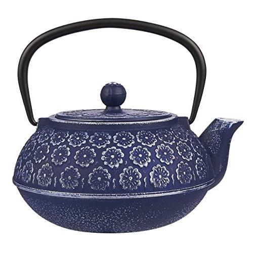 Blue Floral Cast Iron Teapot Kettle with Stainless Steel Inf