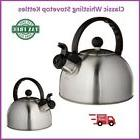 Brushed Stainless Steel Tea Kettle Heavy Duty Whistling Stov