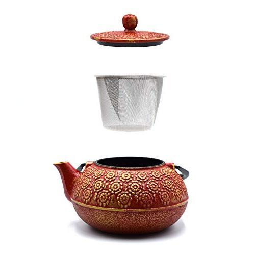 JINGYAT Cast Japanese Tetsubin Durable Tea strainer Fully Enameled Interior
