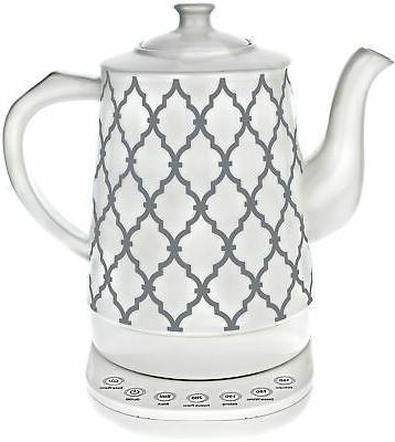 Ceramic Tea Kettle with 5 Temperature Presets - 1.6L Electri
