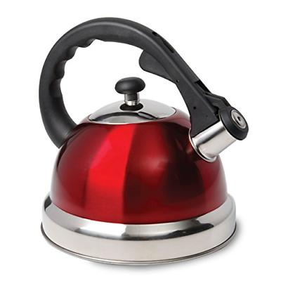 Mr Coffee Claredale Whistling Tea Kettle, 2.2 Quarts, Red