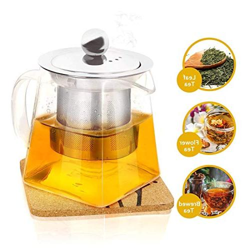 Clear Glass Tea with Stainless Infuser and Lid- Kettles Tea Tea ml
