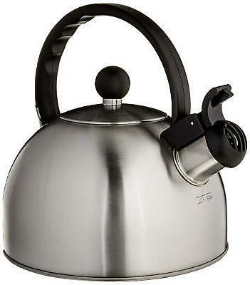Coffee Tea Tucker Brushed Stainless Steel Kettle 1.5-Quart