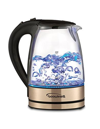 cordless glass copper electric kettle
