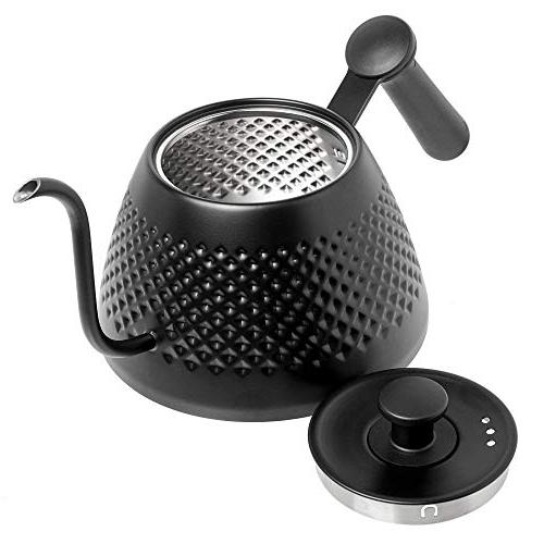 Jake & Over Kettle Stylish Dimpled Design, Stainless Steel - Specialty Kettle Kitchen - 34oz, Black, Long Spout for Pouring; & Tea