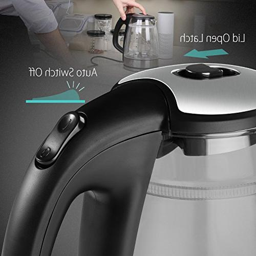 BREVO Touch Electric Kettle with LED Blue Light, 1.7 1500 Fast Boiling, Auto Shutoff,