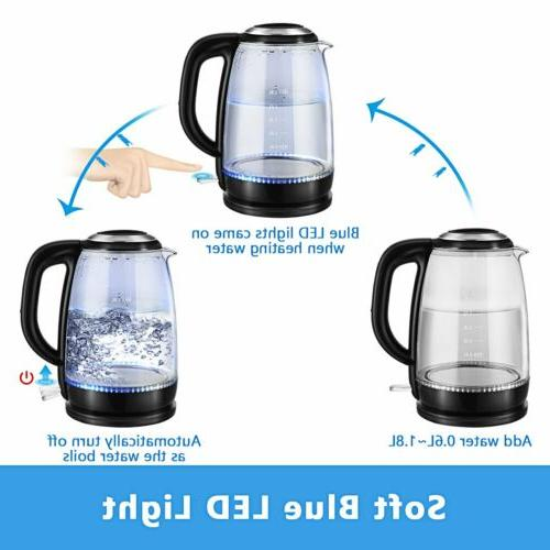 Electric 1.8L Boiler Boiling Tea Kettle w/Blue Illumination