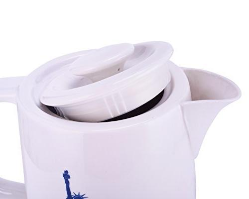CIMERAC Ceramic Tea Coffee Water Kettle With Base Boil Protection,Statue Liberty