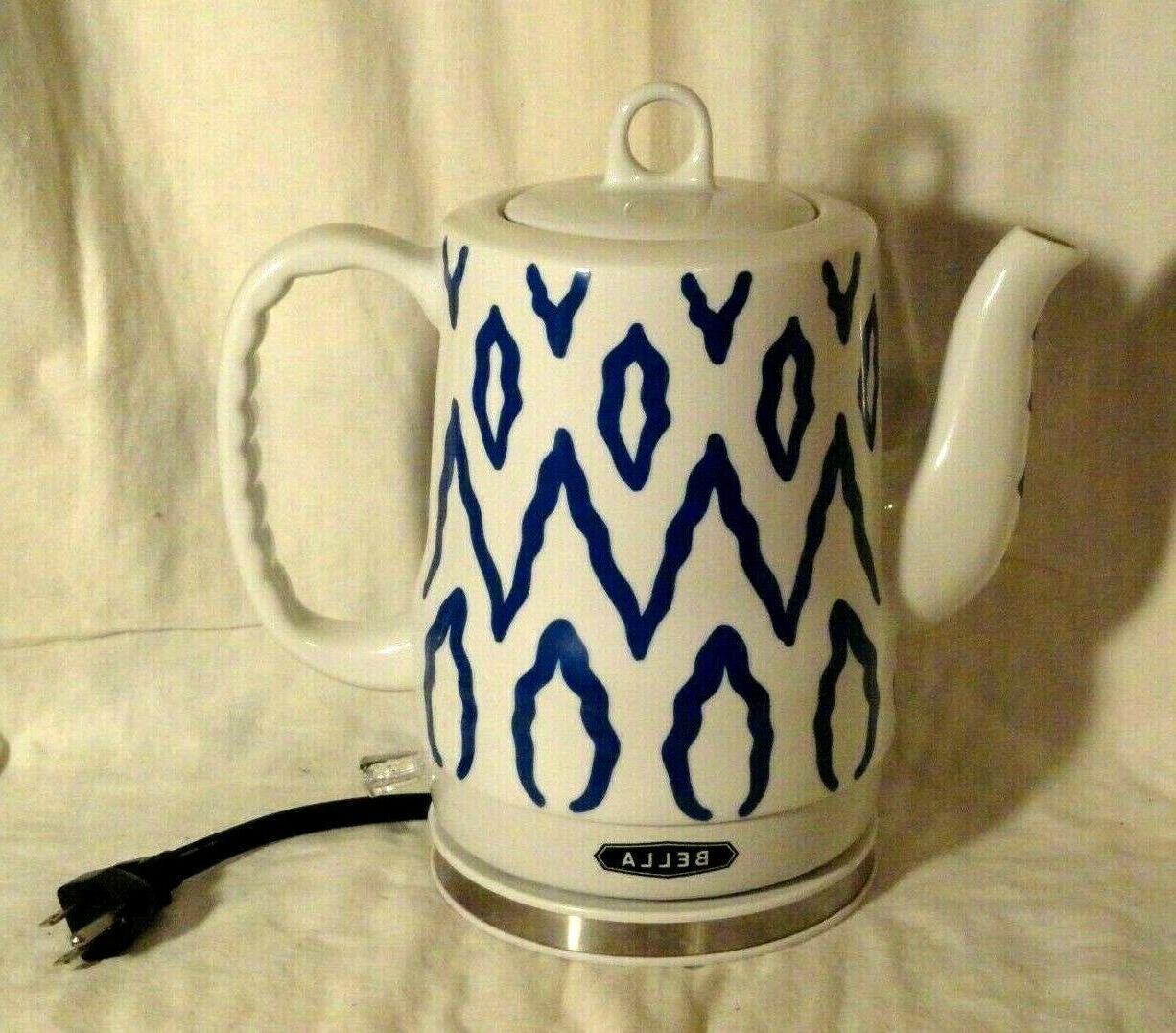 electric ceramic tea kettle blue aztec