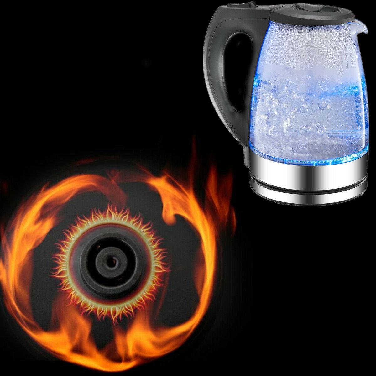 New Tea Water Boil Pot Glass Blue Led Light
