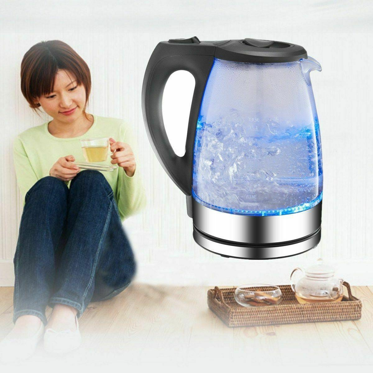 Electric Glass Cordless Boil Blue LED Jug Water