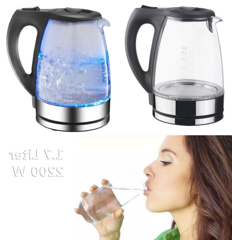 electric glass kettle 2200w cordless rapid boil