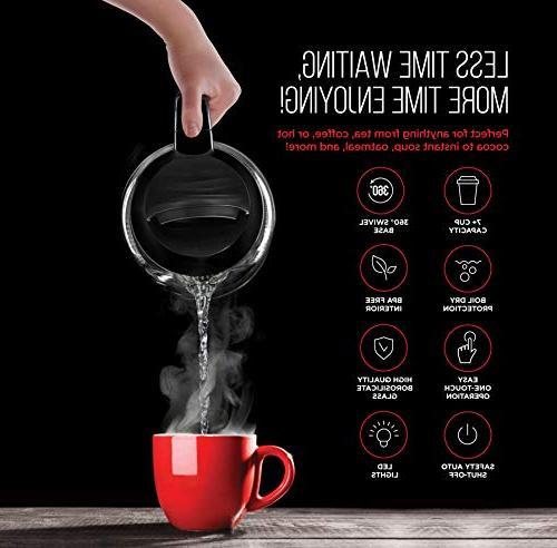 with Easy Operation 360° Swivel BPA Interior, Auto Shut-Off, 1.7