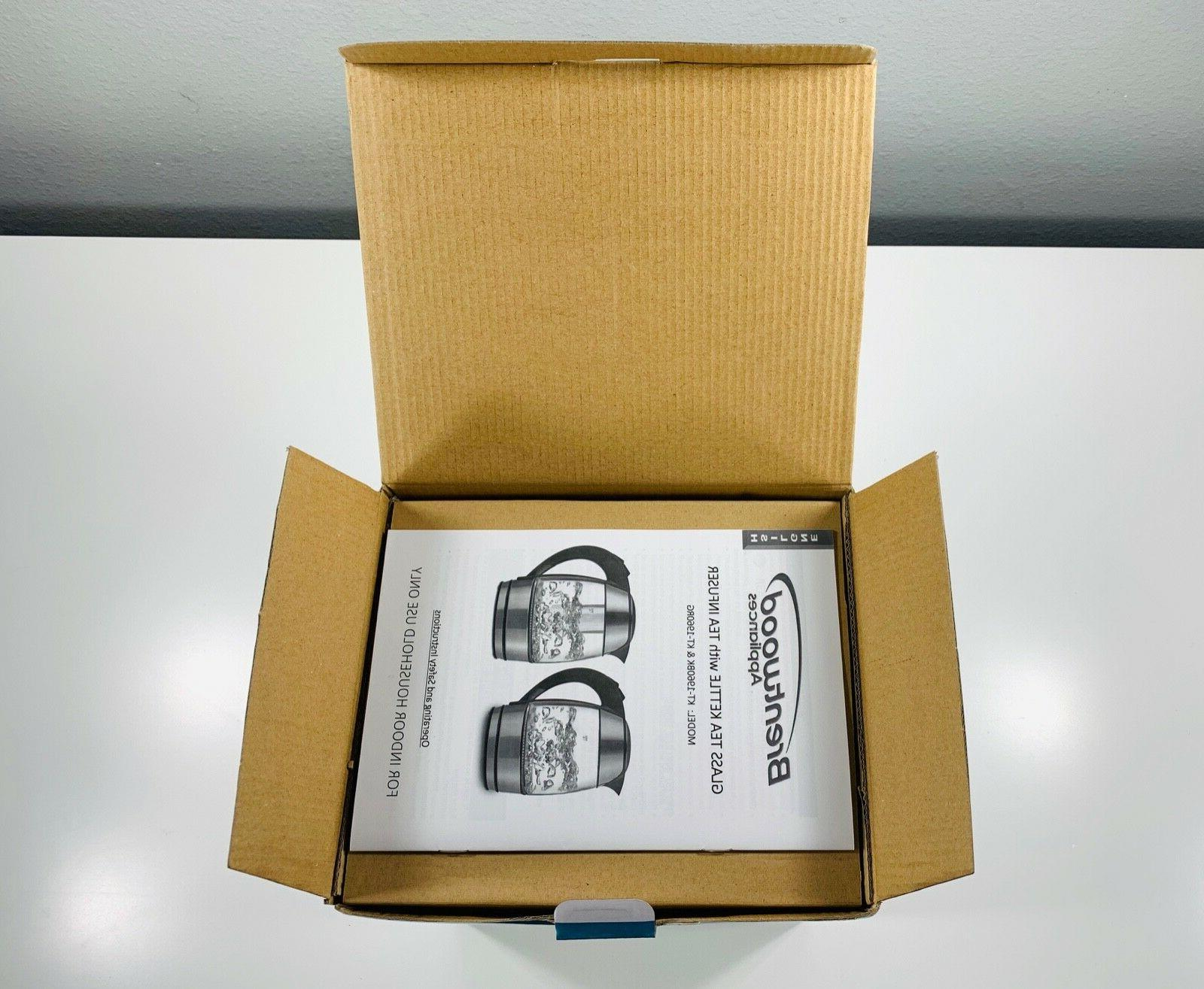 Brentwood Kettle W/Tea Infuser Black 1.8L/60oz Cordless