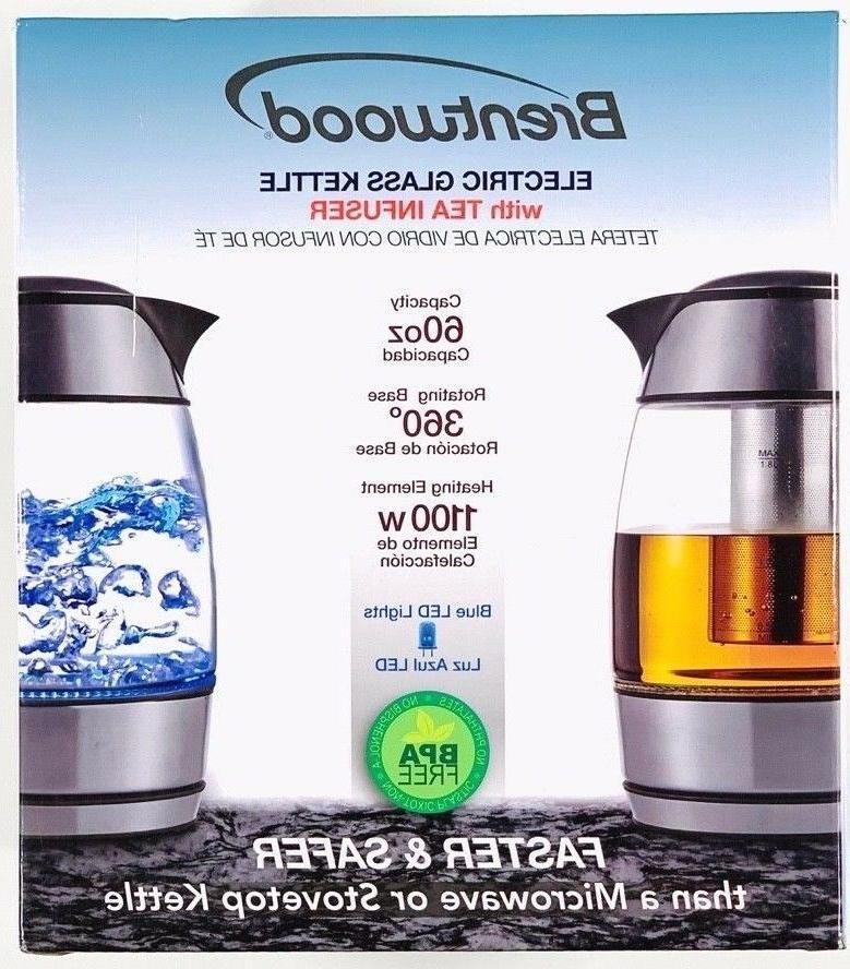 electric glass kettle w tea infuser black