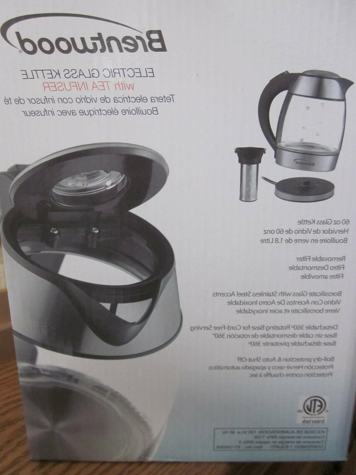 Brentwood Electric Glass Kettle with Tea Infuser  BRAND NEW