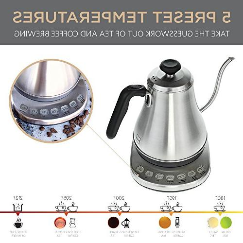 Electric Kettle Temperature Presets - Electric Tea with Control - Kettle and Teapot Pour