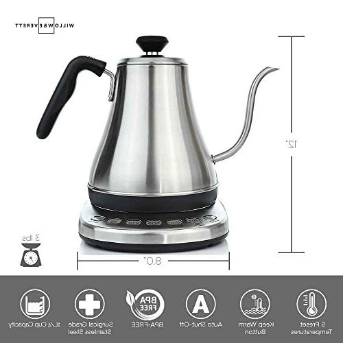 Electric Gooseneck Temperature 1L Electric with Stainless Kettle Electric Pour