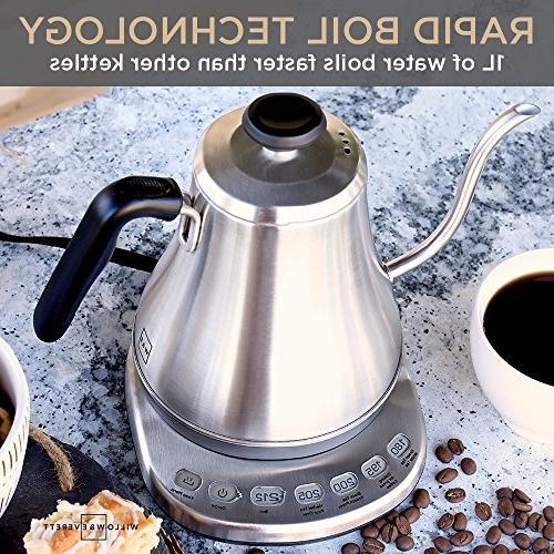 Electric Gooseneck Kettle with Temperature 1L Electric Pot Kettles with Stainless Kettle Electric Pour