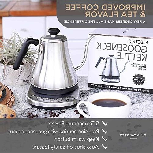 Temperature Presets - Electric Tea with Temperature Stainless Coffee Kettle and Pour Over