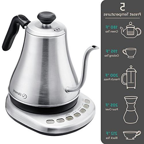 Electric Gooseneck Variable Kettle Over Coffee and | Stainless with Preset Control with Chemex, Aeropress
