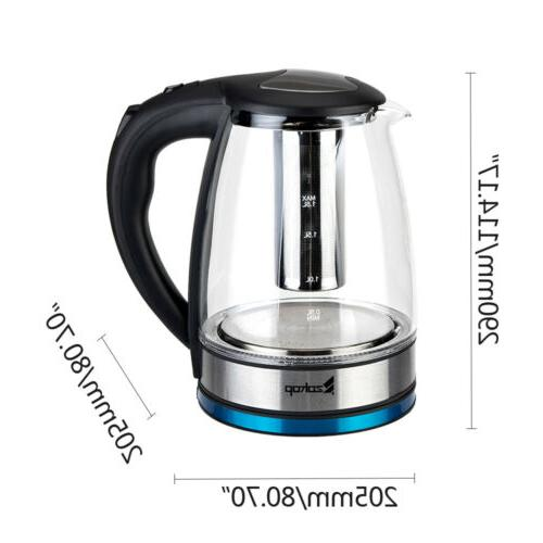 US 1.8L Electric Water Tea Kettle LED Light 304 Glass Fast B