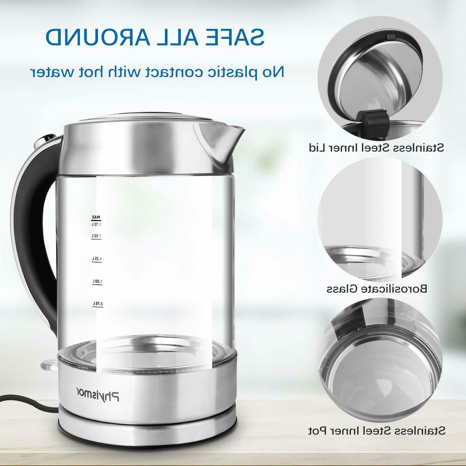 Electric 1.7 Cordless Kettle Water Boiler,
