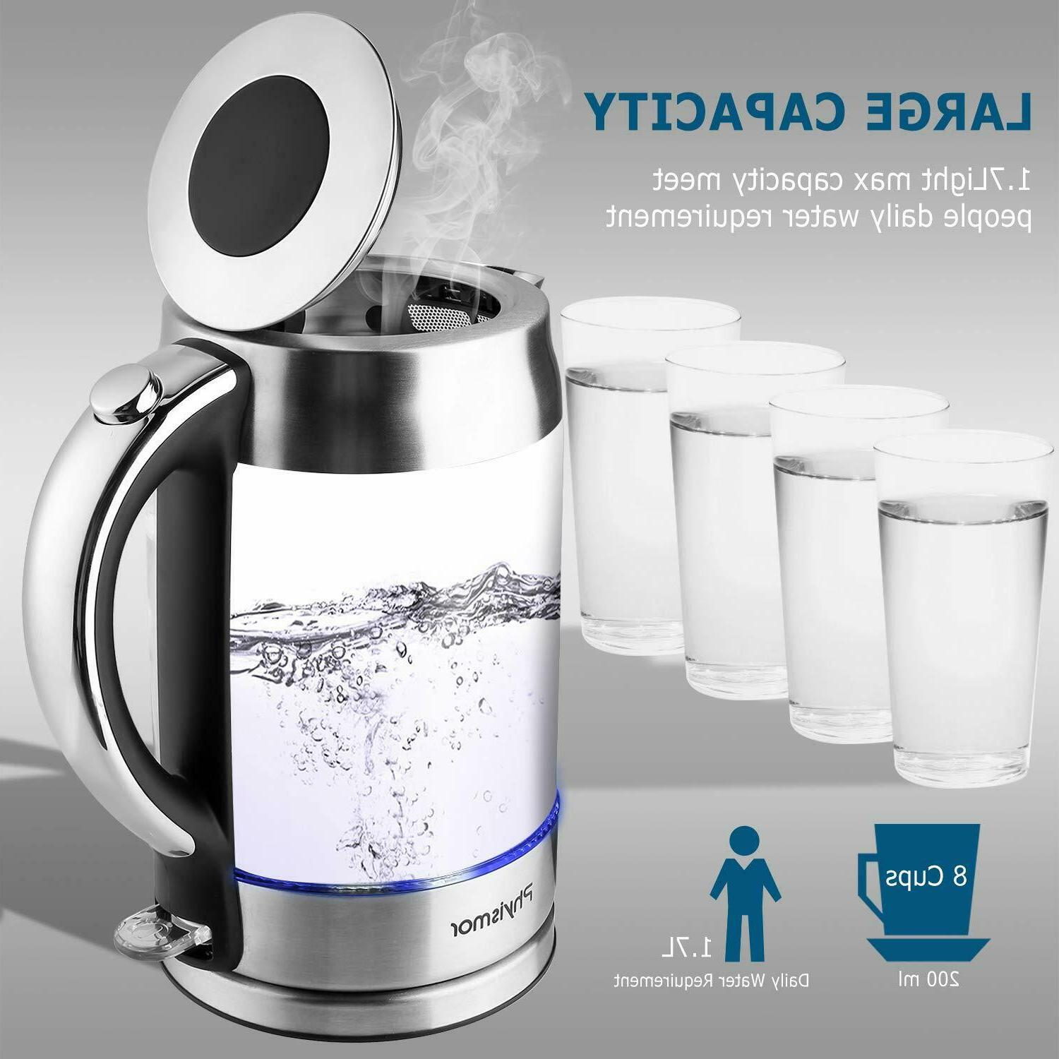 Electric Kettle, 1.7 Cordless Glass Water Stainless Finish
