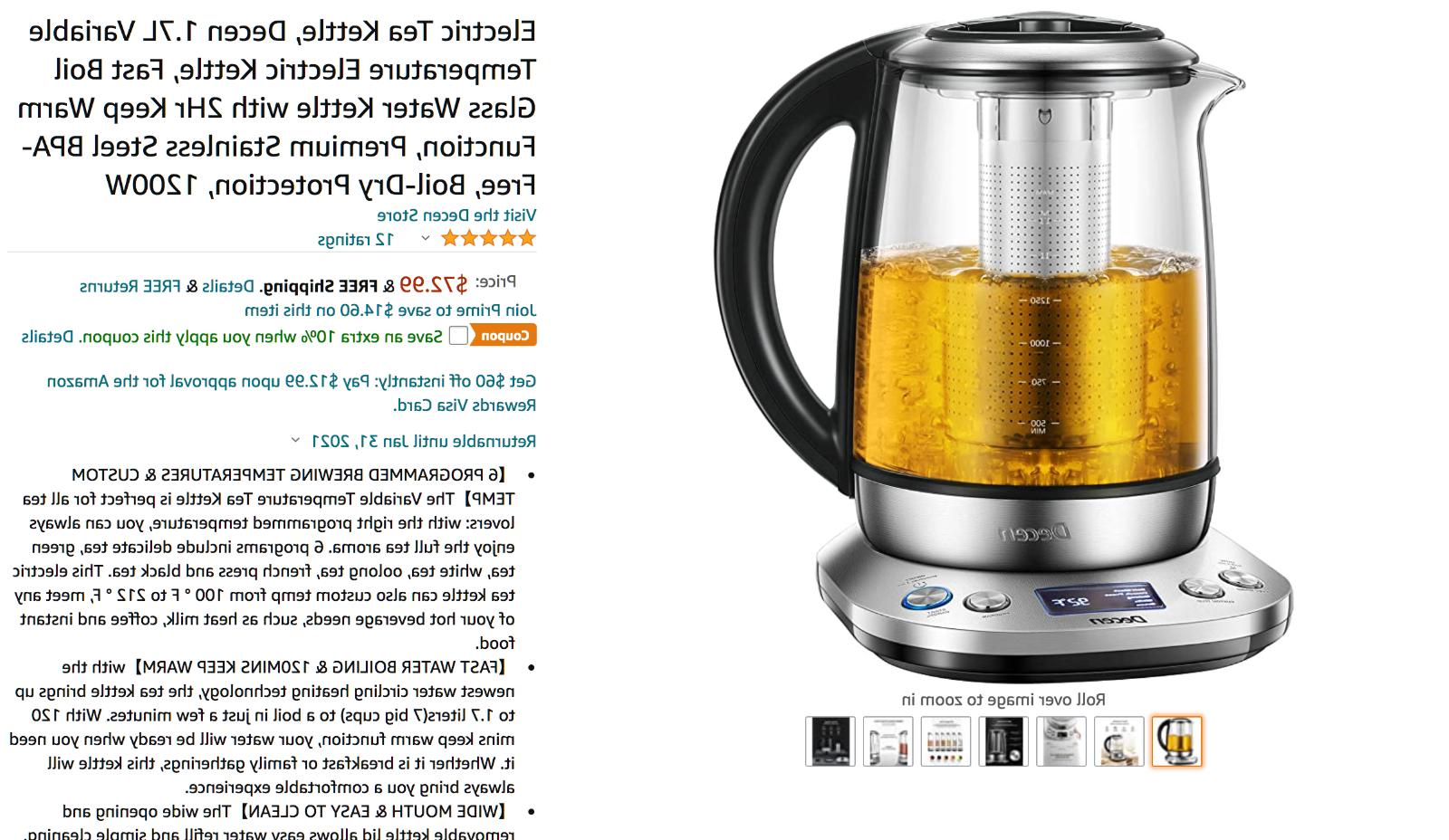 Electric Kettle 1.7L Glass Tea Maker
